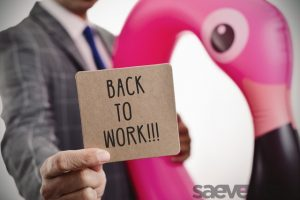 businessman and text back to work with Saevents